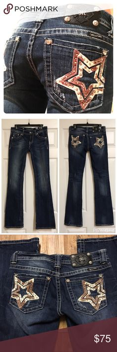 "Miss Me Star Jeans 27x35 Miss Me Jeans - Size 27 with a 35"" inseam. Style # JW6043B - worn twice, machine washed and hung to dry. No rivets/jewels/etc missing. Like new!! Miss Me Jeans Boot Cut"