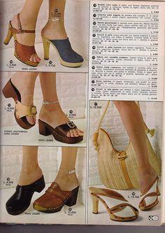 70s Women Fashion, 70s Inspired Fashion, Seventies Fashion, Vintage Fashion, Dr Scholl, 1980s Shoes, Boogie Shoes, Vintage Shoes Women, Wooden Sandals