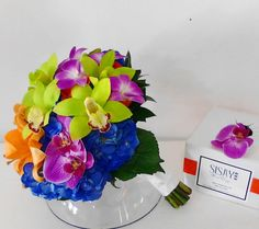 Bridal bouquet hydrangeas and orchids