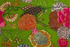 Green Indian Pattern Fabric