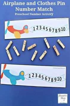 Preschool Number Activity- Airplane and Clothes Pin Number Match : This is great way to work on number recognition. Preschool Number Activity- Airplane and Clothes Pin Number Match : This is great way to work on number recognition. Transportation Preschool Activities, Airplane Activities, Transportation Unit, Preschool Learning Activities, Preschool Math, Maths, Airplane Crafts, Counting Activities, Educational Activities
