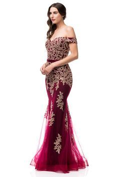 409300f98701 Oscar Off Shoulder Burgundy & Gold Mermaid Tulle Evening Gown Long Pro – Frugal  Mughal Puffy
