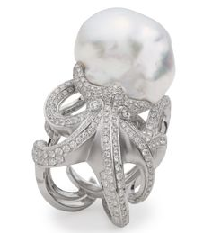 Octopus ring with pearl and diamonds, price on request; Tara Pearls