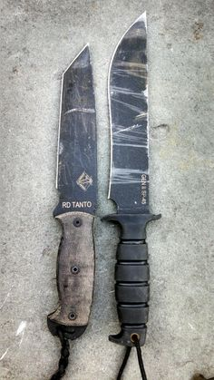Two different knife blade styles. The tanto has proven to be a nice kind, and there is something about the knife on the right that seems like it would be good for lopping off branches and whatnot (zombie heads. Definately zombie heads.)