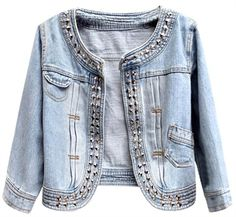 Collarless light blue cropped denim jacket featuring studded detail around neckline and down front to curved hem, with mini flap pocket to top right, pocket to bottom left and seam and stitching detail. Collarless Denim Jacket, Studded Denim Jacket, Cropped Denim Jacket, Jeans Bleu, Denim Outfits, Denim Ideas, Denim Fashion, Diy Clothes, Blazers