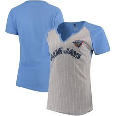 Toronto Blue Jays Majestic Women's Cooperstown Collection From the Stretch Pinstripe Notch Neck T-Shirt - Gray/Light Blue