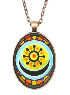 """Adinkra Osram Ne Nsoromma for Love, Faithfulness, Harmony Huge 30x40mm Antique Copper Pendant. •Pendant Size is 30x40mm (1.5""""h) Includes 24"""" chain. •Pendant, with clear glass cabochon dome over the artwork. Artisan Courtyard Original Artwork by Artist Shoushan. •Includes Gift Box."""