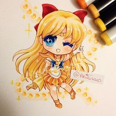 Venus love-me chain~! Chibi fanart of Sailor Venus in her super form =D…