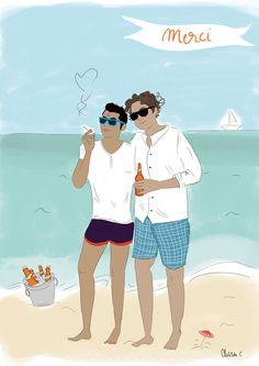 #fairepart #announcement #cartesderemerciements #mariage #wedding #voyagedenoces #love #amour #couple #homosexuel #beach #sea #papeterie #stationery