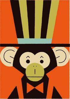Circus 02 on Behance Cartoon Monkey, Monkey Art, Circus Illustration, Monkey Pictures, Circus Art, Animal Posters, Art Background, Character Design, Card Ideas