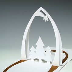 christmas kirigami patterns free | Kirigami Christmas Tree and Star Pattern 300x300 Kirigami Christmas ...