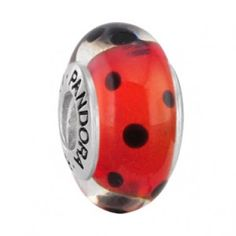 Pandora Murano Glass Bead Red And Black Polka Dots  $37.00