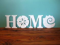 HOME, beach, coastal, word sign, beach cottage, shabby chic, sand dollar…