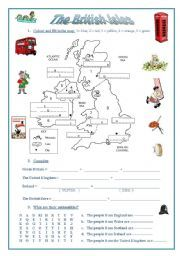 english worksheet the british isles a map emblems nationalities flags