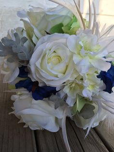 Bridal Bouquet. White roses Delphinium Blue by FeatheredNestFloral
