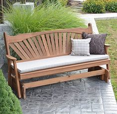 CEDAR PORCH GLIDER BENCH Outdoor Patio Gliding Bench, 2 Person Wooden Loveseat Benches, Amish Made Furniture Weather Resistant Western Red Cedar Wood, 5 Styles (6ft, Fanback Oak Stain) #afflink Red Cedar Wood, Western Red Cedar, Cheap Patio Furniture, Furniture Ideas, Porch Glider, Cedar Bench, Oak Stain, Gliders, Love Seat