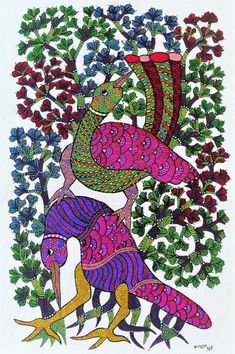 """Painting, """"Original hand made gond painting illustrating birds with their home sweet home. Kerala Mural Painting, Indian Art Paintings, Madhubani Painting, Original Art, Original Paintings, Madhubani Art, Indian Folk Art, Peacock Art, Mural Art"""