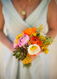 Poppy, ranunculus and succulent bridesmaid bouquet  | Photos by EP Love | 100 Layer Cake