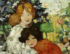 ⊰ Posing with Posies ⊱ paintings of women and flowers - Bessie MacNicol | Two sisters, 1899