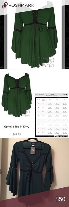 NWT Victorian Gothic Blouse NWT Victorian Gothic Green Blouse. Bought online never worn. Great cosplay for medieval or Goth look. Dark green w/ black accent. sexy sweetheart bodice outlined w/ delicate black lace grommeted corset lace-up cinches bodice. Has flared, cascading sleeves w/ flowy babydoll skirt. spaghetti ties in back to customize the fit. Size 1X but can fit L due back ties. See website size chart pic#2. Pristine condition. Sells online under Ophelia Top in Envy for $66 plus…