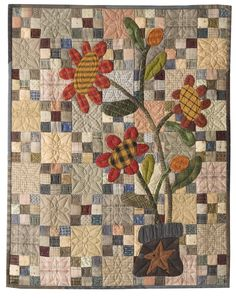 Muted nine-patch with prim-style applique flowers. Back Porch Quilts. Could use crumb applique on grey and white nine patch Fall Quilts, Scrappy Quilts, Mini Quilts, Blue Quilts, Mini Quilt Patterns, Block Patterns, Sunflower Quilts, Primitive Quilts, Primitive Patterns