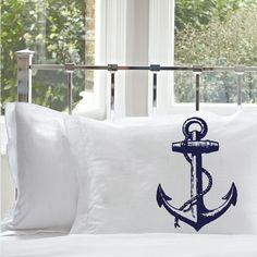 2 Two Navy Blue Ship's Anchor NAUTICAL PILLOWCASE por Royalkane, $19.99