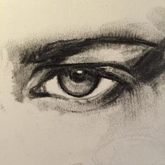 Eye in charcoal study. Charcoal Drawing.