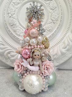 VTG Pink mermaid Bottle brush tree * Ornaments RHINESTONE Jewelry earrings shell