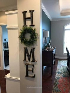 Insane home decor, letter decor, H O M E , use a wreath as the O, diy, decor, signs, love, rustic, farmhouse, creative easy to hang, kitchen decor, living room, dining room, hallway, .. www.wearethebikerstore.com | Leather, Skull, Bikers, Fashion, Men, Women, Home Decor, Jewelry, Acccessory.
