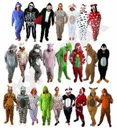 Adult Mens Womens Onesie Pyjama Fancy Dress Festival Animal Kermit Halloween New | eBay