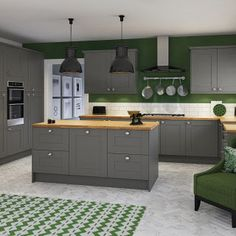 Cuisine verte et grise is one of images from cuisine verte et grise. Find more cuisine verte et grise images like this one in this gallery Kitchen Cabinets Units, Dark Grey Kitchen Cabinets, Grey Kitchens, Kitchen Tiles, New Kitchen, Home Kitchens, Kitchen Wood, Gray Cabinets, Awesome Kitchen