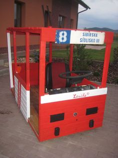 Trolley car made as a toy with original Skoda T14 parts (steering wheel, dashboard, seat).