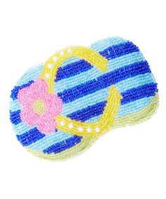 Love this Blue & Yellow Flip-Flop Hand-Beaded Coin Purse on #zulily! #zulilyfinds