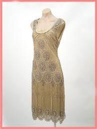 1920s Style Gold Beaded Jazz Baby Fringed Flapper Dress.