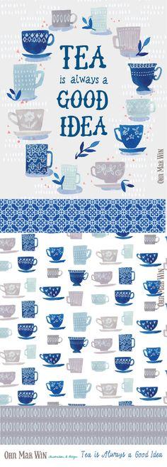 FOOD & DRINK — Ohn Mar Win Illustration Tea vintage tea cups surface pattern