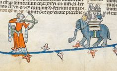 Woman armed with crossbow draws a bead on knights in an elephant castle. One of the knights seems to be shrugging. Smithfield decretals. 1300-1340