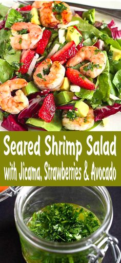 Seared Shrimp Avocado Salad This healthy shrimp avocado salad will leave your family begging for more. Succulent shrimp, crunchy jicama, sweet strawberries and creamy avocado. 330 calories and 6 Weight Watchers SP Best Salad Recipes, Avocado Recipes, Healthy Recipes, Top Recipes, Fruit Recipes, Summer Recipes, Shrimp Avocado Salad, Avocado Salat, Broccoli Salad