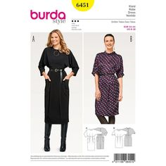 Charming Misses' dresses with batwing sleeves and a back button fastening. Big patch pockets are a fun fashion detail. Burda Style sewing pattern.