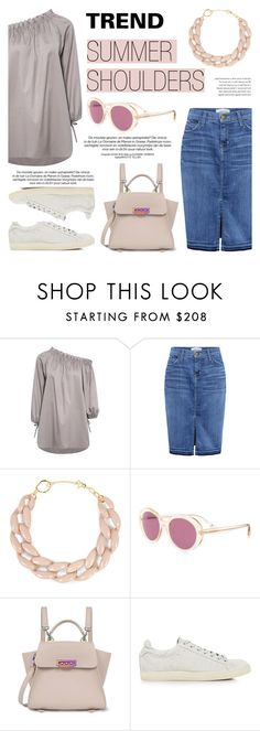 """""""Trend: Summer Shoulders!"""" by ifchic ❤ liked on Polyvore featuring Current/Elliott, DIANA BROUSSARD, Oliver Peoples and IRO"""