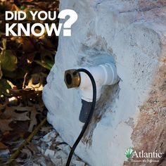 """✳️::TechTip:: Spout Lights are designed to work in formal Wall Spout applications, but are also ideal to illuminate the flow from cored boulders. Use a minimum 1"""" threaded tee at the bottom of the boulder for best results. #techtip #didyouknow #waterfeatures #atlanticwatergardens"""