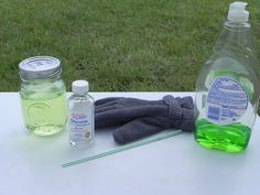 Bouncing Bubbles: 1 C distilled drinking water 1 Tablespoon dish soap 1 Teaspoon of glycerin straw (or bubble wand) 1 clean glove (or sock) - (this is to keep the bubble from popping)