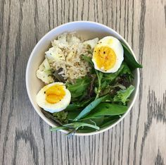 brown rice, cauliflower- chopped and roasted, lemon, olive oil, salt and pep, arugula, hard boil egg