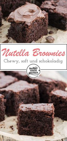 Chewy, soft and incredibly delicious: These simple Nutella brownies are the perfect pastry for all chocolate lovers! Chewy, soft and incredibly delicious: These simple Nutella brownies are the perfect pastry for all chocolate lovers! Nutella Brownies, Chewy Brownies, Nutella Cookies, Baking Brownies, Nutella Muffins, Brownie Recipes, Cookie Recipes, Snack Recipes, Dessert Recipes