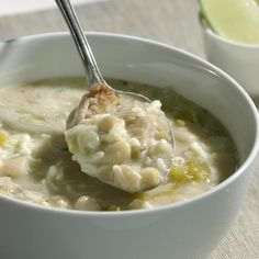 This fragrant white chili is an unusual, delicious alternative to traditional tomato-based chilis. Serve with lime wedges and a dollop of sour cream or a sprinkling of cheese.