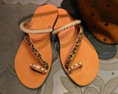 ALIMIA gold-black-silver Leather Sandals Toe by CobblersMistress