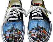Hail to the Theif Radiohead Painted Sneakers How I would love a pair with King of Limbs art painted on them. via Etsy