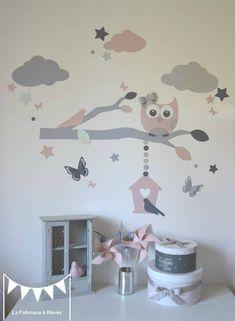 stickers décoration chambre enfant fille bébé branche cage à oiseau hibou chouette oiseaux papillons étoiles