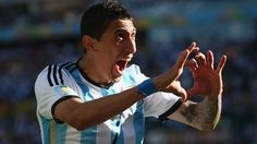 Angel di Maria of Argentina celebrates scoring his team's first goal against Switzerland in extra time.