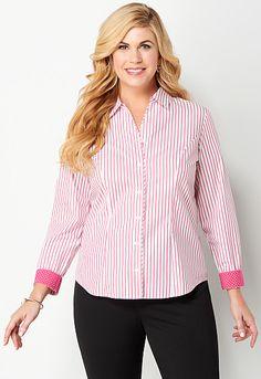 Wrinkle Resist Stripe & Dot Shirt