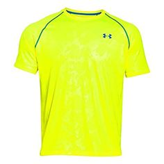 Under Armour Men's Tech Patterned Short Sleeved T Shirt, Yellow